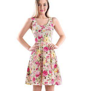 Cream Pink Yellow Floral skater Dress